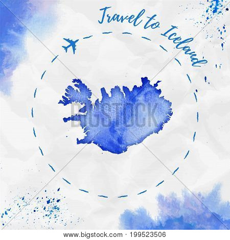 Iceland Watercolor Map In Blue Colors. Travel To Iceland Poster With Airplane Trace And Handpainted