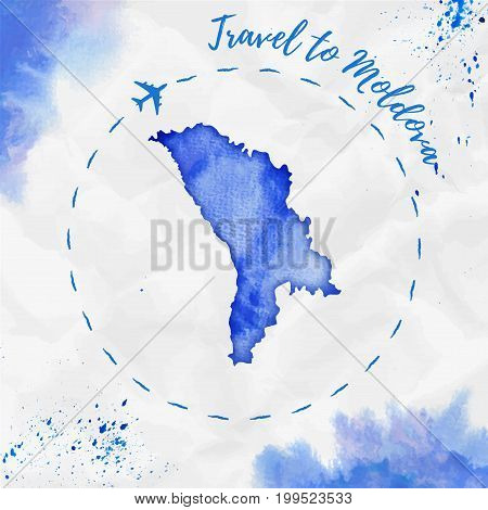 Moldova Watercolor Map In Blue Colors. Travel To Moldova Poster With Airplane Trace And Handpainted