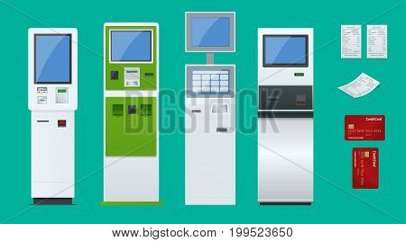 Flat set vector online payment systems and self-service payments terminals, debit credit card and cash receipt. NFC payments, Payment terminal, Digital touch screen, interactive kiosk concept.
