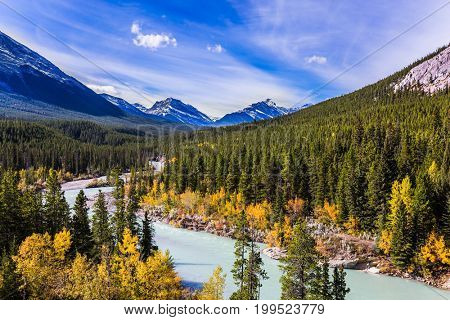 Indian summer in Canada. Abraham Lake is the most beautiful lake in the Rockies. Dense forests cover the lake shores. The concept of ecological and active tourism