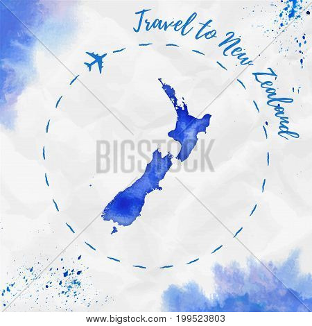 New Zealand Watercolor Map In Blue Colors. Travel To New Zealand Poster With Airplane Trace And Hand
