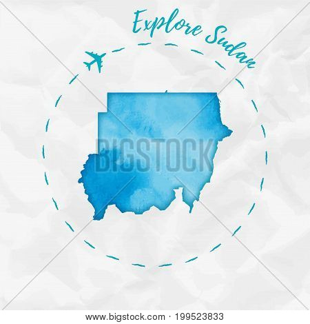 Sudan Watercolor Map In Turquoise Colors. Explore Sudan Poster With Airplane Trace And Handpainted W
