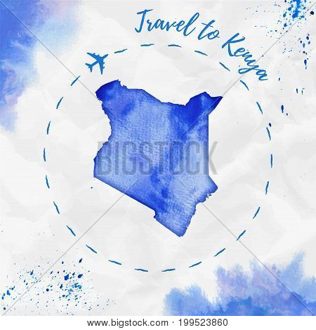 Kenya Watercolor Map In Blue Colors. Travel To Kenya Poster With Airplane Trace And Handpainted Wate
