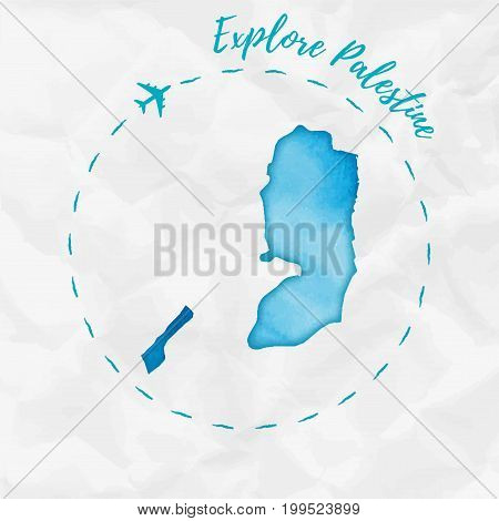 Palestine Watercolor Map In Turquoise Colors. Explore Palestine Poster With Airplane Trace And Handp