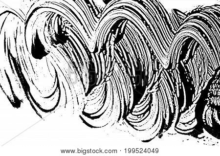 Grunge Soap Texture Invert. Distress Black And White Rough Foam Trace Graceful Background. Noise Dir