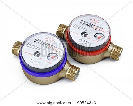 two new water meters isolated on white - Sanitary equipment. 3d rendering
