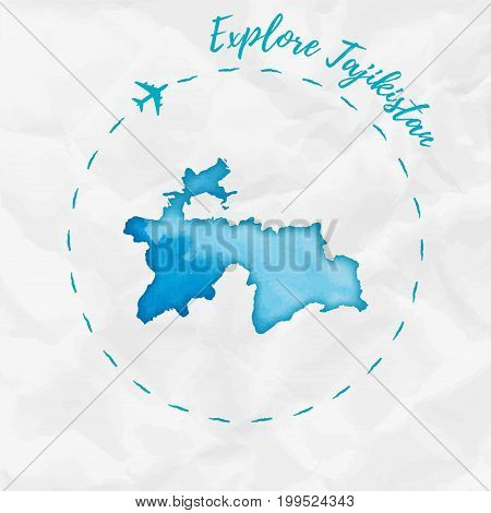 Tajikistan Watercolor Map In Turquoise Colors. Explore Tajikistan Poster With Airplane Trace And Han