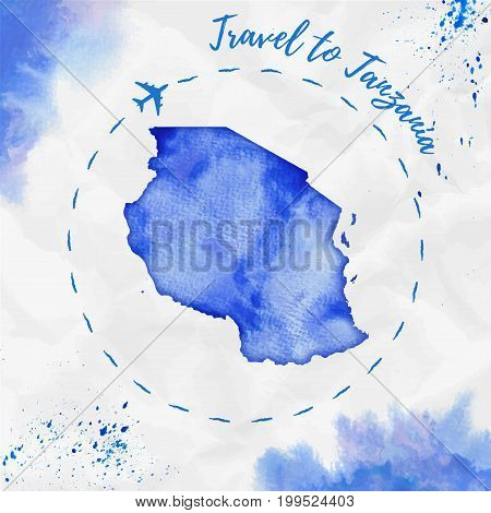Tanzania Watercolor Map In Blue Colors. Travel To Tanzania Poster With Airplane Trace And Handpainte