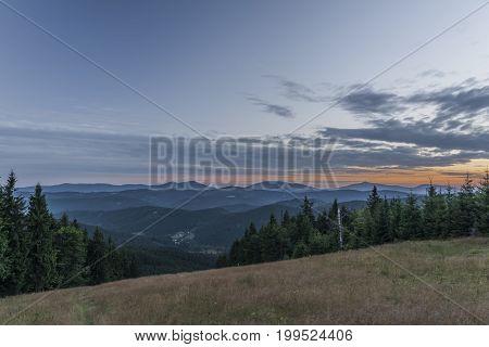 Sunrise on Velky Javonik hill in summer Slovakia morning