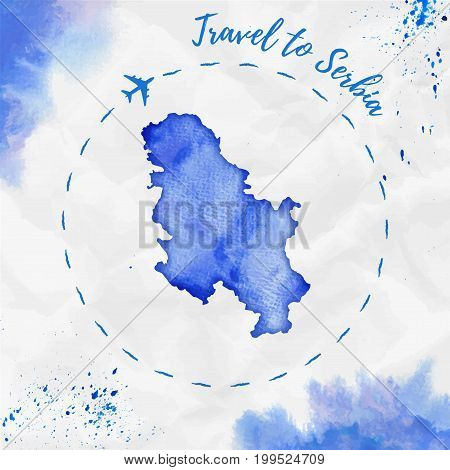Serbia Watercolor Map In Blue Colors. Travel To Serbia Poster With Airplane Trace And Handpainted Wa