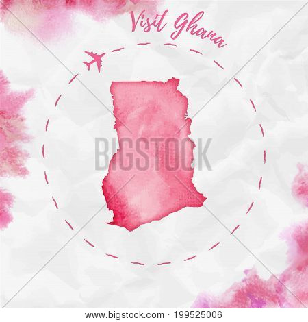 Ghana Watercolor Map In Red Colors. Visit Ghana Poster With Airplane Trace And Handpainted Watercolo