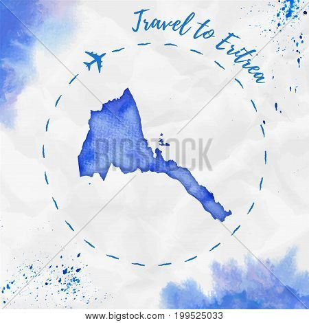 Eritrea Watercolor Map In Blue Colors. Travel To Eritrea Poster With Airplane Trace And Handpainted