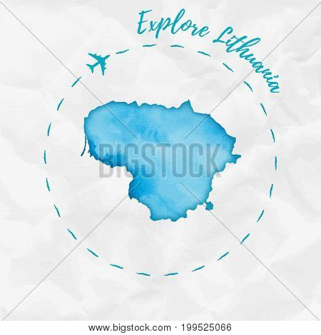 Lithuania Watercolor Map In Turquoise Colors. Explore Lithuania Poster With Airplane Trace And Handp