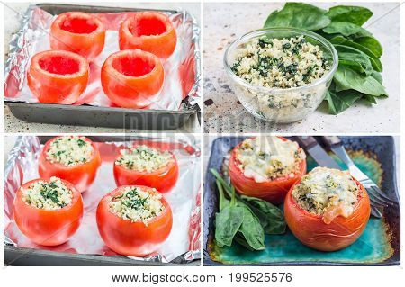 Collage with process of preparation baked tomatoes stuffed with quinoa and spinach topped with melted cheese horizontal