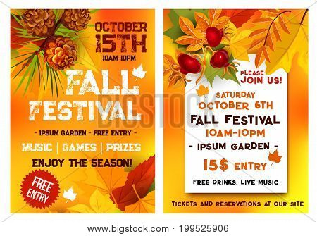 Autumn music festival or October seasonal fall outdoor event poster or invitation flyer template with date. Vector design of autumn leaves of maple, oak acorn and rowan berry for garden park picnic