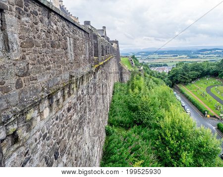 STIRLING, SCOTLAND: JULY 23: Walls and fortifications of Stirling Castle on July 23, 2017 at Stirling, Scotland. Stirling Castle is one of the most famous castles in Scotland.