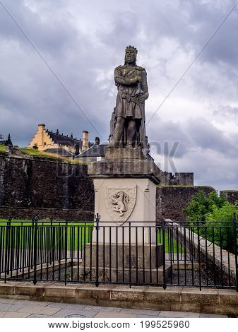 STIRLING, SCOTLAND: JULY 23: Statue of Robert the Bruce at Stirling Castle on July 23, 2017 at Stirling, Scotland. Stirling Castle is one of the most famous castles in Scotland.
