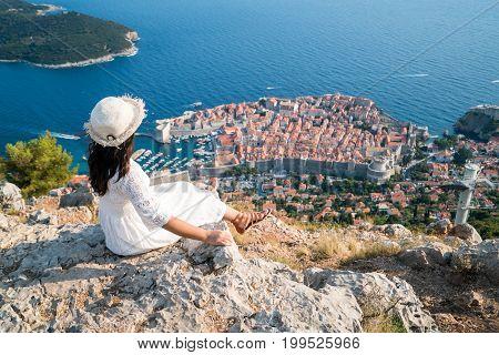 Traveller Looking At View Of Dubrovnik, Croatia