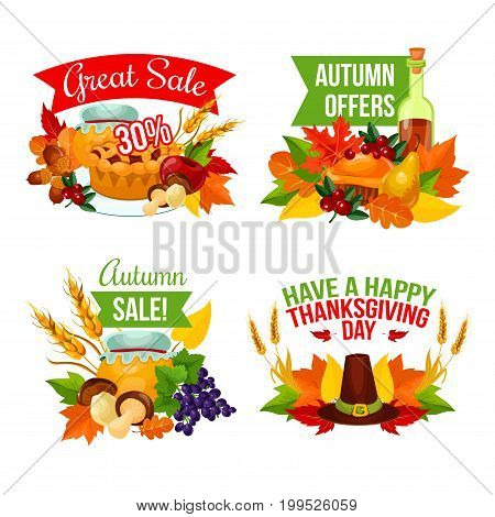 Autumn sale icon of Thanksgiving Day and fall harvest celebration. Autumn leaf, pumpkin pie, apple fruit, cranberry, pilgrim hat, forest mushroom and acorn, orange maple foliage for retail design