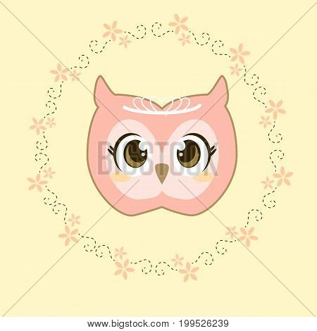 a design of princess owl with tiara and rounded floral frame