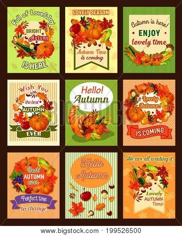 Autumn leaf and fall harvest celebration retro poster set. Autumn season foliage frame with pumpkin vegetable, apple fruit, mushroom, acorn, grapes, wheat and cornucopia for Thanksgiving Day design