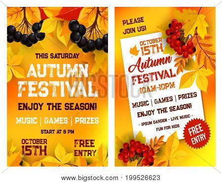Autumn festival or live music event invitation poster template with date in garden park. Vector October seasonal event flyer design of autumn leaves of maple, oak acorn and rowan berry harvest