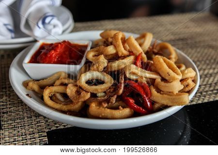 Fried calamari with chili paprika on plate