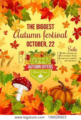 Autumn sale promotion banner of fall harvest festival. Autumn leaf, orange pumpkin vegetable, amanita mushroom and ripe wheat poster with discount offer text layout for retail themes design