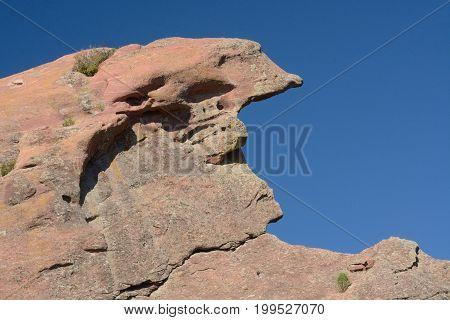 Erosion of prehistoric sandstone rock at Red Rocks Park in Morrison Colorado
