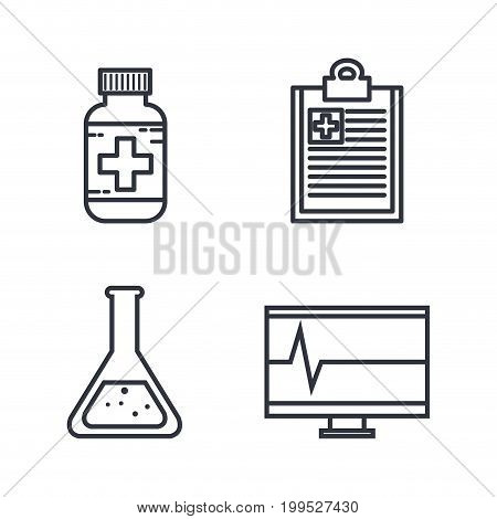 Flat line uncolored medical related objects over white background vector illustration