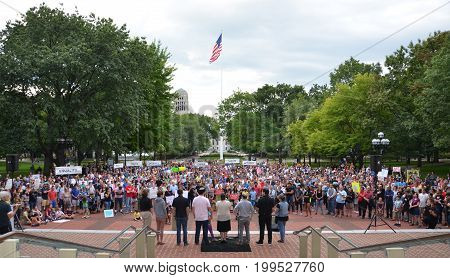 ANN ARBOR MI - AUG 13: Clergy members address a rally in solidarity with the counter-protesters of Charlottesville VA in Ann Arbor MI on August 13 2017.