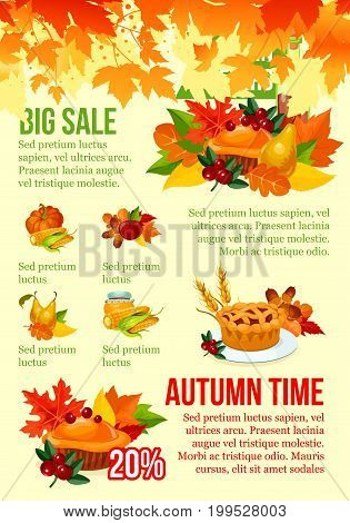 Autumn season big sale banner template. Fall leaf, autumn harvest pumpkin and corn vegetable, apple fruit, cranberry and Thanksgiving traditional pie, orange foliage and acorn, promotion offer design