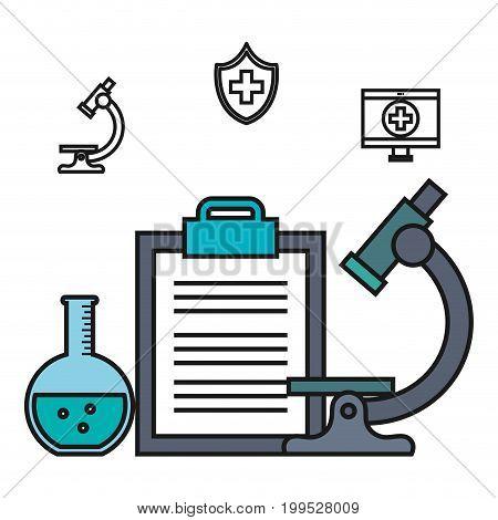 microscope clipboard test tube medical element vector illustration