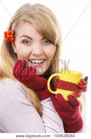 Happy Girl With Rowan In Hair Wearing Woolen Gloves And Holding Cup Of Tea Wrapped Scarf