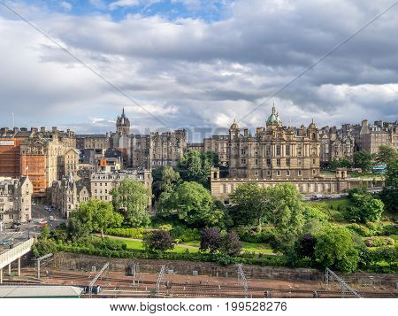 A view to Edinburgh Old Town from Princes Street Edinburgh