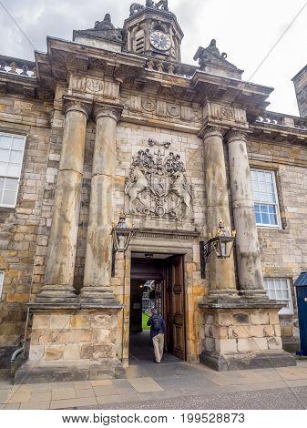 EDINBURGH, SCOTLAND - JULY 28: Entrance gates of Holyrood Palace on July 28, 2017 in Edinburgh. Holyrood Palace is the official residence of the Monarch of the United Kingdom in Edinburgh, Scotland.