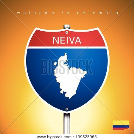 An Sign Road America Style with state of Colombia with Yellow background and message NEIVA and map vector art image illustration