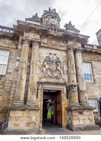EDINBURGH, SCOTLAND - JULY 28: Entrance gates of Holyrood Palace on July 28, 2017 in Edinburgh. Holyrood Palace is the official residence of the Monarch of the United Kingdom in Edinburgh, Scotland.