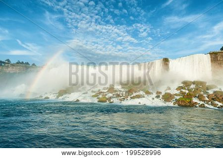 Majestic View On The Niagara Falls Us Side From The Water