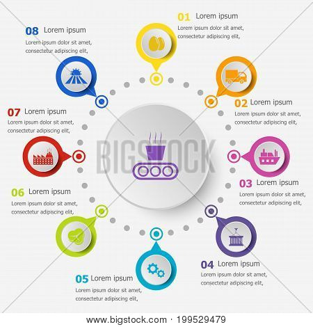Infographic template with supply chain icons, stock vector