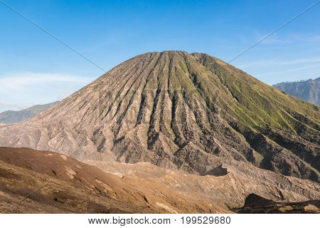 Close-up of Mount Batok (Mt.) in Bromo Tengger Semeru National Park, East Java, Indonesia.