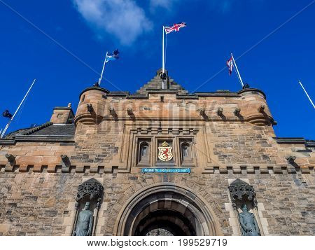 EDINBURGH, SCOTLAND - JULY 29: External facades of entrance to Edinburgh Castle on July 29, 2017 in Edinburgh Scotland. Edinburgh Castle is full of many ancient buildings.