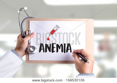 Anemia Blood For Test , Medical Concept , Diagnosis Iron Deficiency Doctor Hand Working Professional