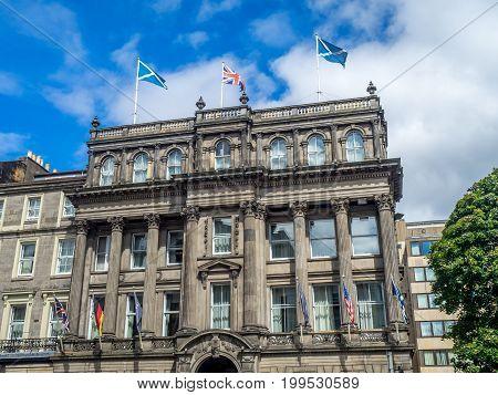 EDINBURGH, SCOTLAND - JULY 30: Victorian architecture on July 30, 2017 in Edinburgh Scotland. This fine building is located in Edinburghs New Town.
