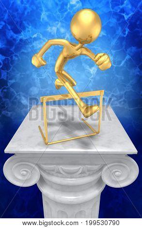 Jumping A Hurdle The Original 3D Character Illustration