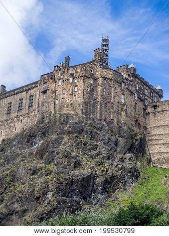 The magnificent view of Edinburgh Castle from Grassmarket in Edinburgh Scotland.