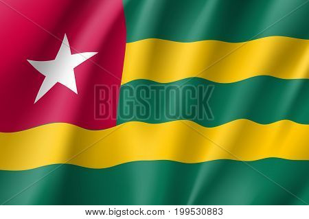 Togo flag. National patriotic symbol in official country colors. Illustration of Africa state waving flag. Realistic vector icon