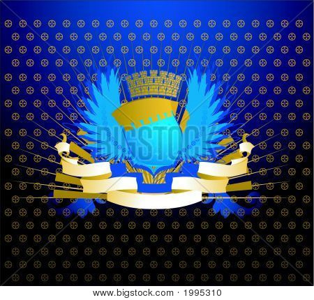 Blue Gold Shield On Ornate Dark Background.