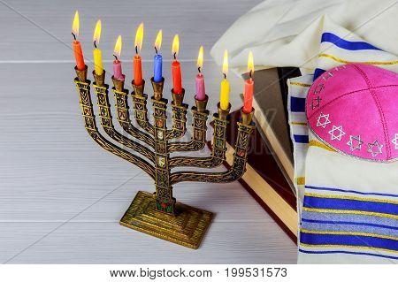 Hanukkah Menorah With Candles Happy Burning