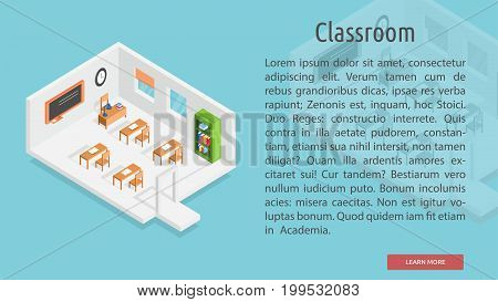 Isometric Classroom Conceptual Banner | Isomatric Banner Design with hight quality vector | Use for business, marketing, concept and much more. The set can be used for several purposes like: websites, print templates, presentation templates, and promotion